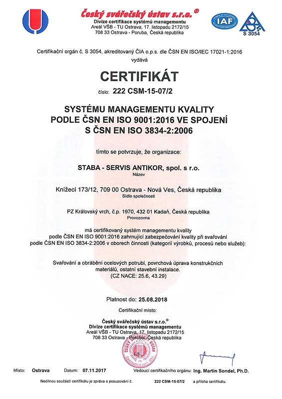 STABA-SERVIS Antikor spol. s r.o. - Certification